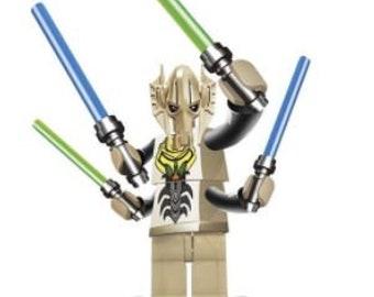 Custom General Grievous Lego Mini-Figure With Four Lightsabers