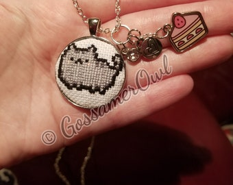 Cross Stitched Pusheen Necklace