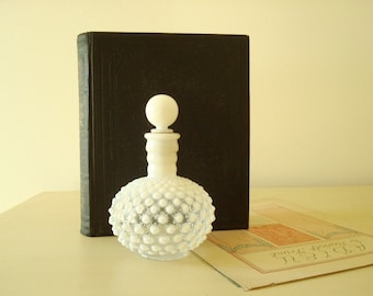 Fenton perfume bottle, opalescent moonstone hobnail milk glass, Wrisley vanity accessory, dressing table decor, cottage style collectible