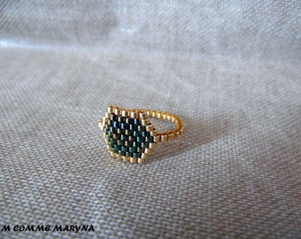 Beaded ring beads Miyuki gold and dark green peyote Bohostyle boho chic Bohemian. Size 52-53 ring