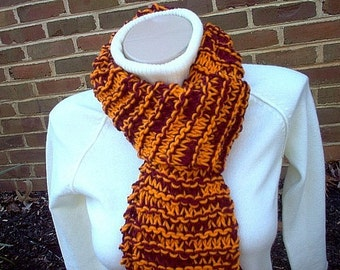 Hand Knit Scarf Virginia Tech Hokies Inspired  - Maroon and Orange