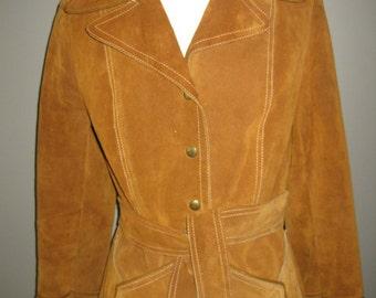 Rust Real Suede Vintage Jacket Coat With Belt