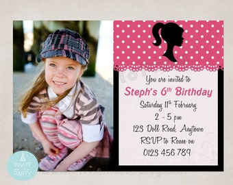 Doll Silhouette Party Invitation on Pink