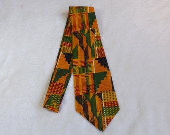 neck tie made from and African print cotton fabric adult/teen, wedding, fathers day gift, doctor, teacher, south Africa, black green yellow