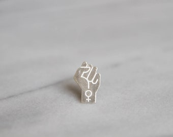 Feminist Power Pin in Silver or Rhodium-Plated Black Silver