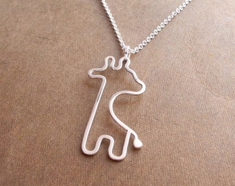 Little Giraffe Necklace, Baby Giraffe, Argentium Sterling Silver, Sterling Silver Chain, Ready To Ship