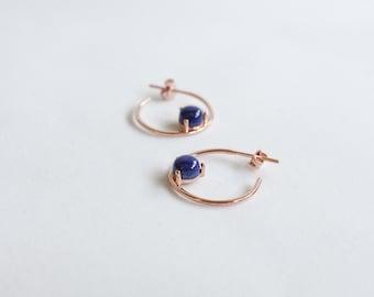 Brena Hoops - Lapis Lazuli - Gold/Rosegold/Silver