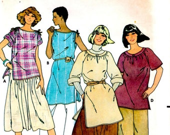 Misses Top Very Loose Fitting Hip or Tunic Length Bateau Neckline Adult Woman Size Medium Uncut Sewing Craft Pattern Butterick 6274