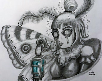 "Original Pop-Surrealist Mothgirl Illustration ""Milly"""