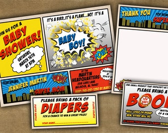 Superhero Baby Shower Invitation - Customizable Comic Book Baby Shower - You Print - DIY Digital File OR We Print For You