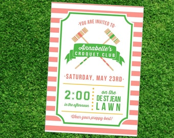 Preppy Croquet Club Printable Party Invitation -Peach Green- Summer lawn games