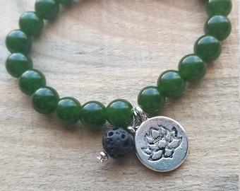 Jade beaded strech bracelet with lotus charm and lavastone diffuser