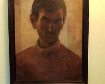 1993,  Petar Manolov-Self Portrait, signed and dated