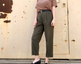 Vintage pleated cotton trousers | green high waist pants | high waisted tapered slacks | 28 waist