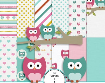 Owls digital scrapbook paper kit, owls clip art, 12X12 scrapbook paper, instant download owls digital paper pack, fast scrapbook, pink, teal