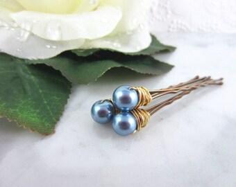 Pearl Hair Pins - Gold Pearl Hair Pins - Powder Blue Hair Pins - Blue Pearl Hair Pins - Wedding Hair Accessories - Bridal Hair Pins