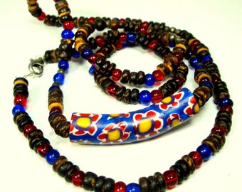 Vintage African Trade Bead Necklace, 1960s  Millefiori Venetian Focal Glass Hippie Bead, w Wood and Glass Beads, 4 Beachcombers, Surfers