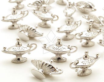PD-2387-MS / 2 Pcs - Magic Lamp Charms, Aladdins Lamp Charms, Genie Charm, Matte Silver Plated over Brass / 18mm x 13mm