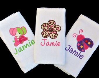 Set of 3 Personalized Baby Girl Burp Cloths OR Bibs / Great Gift