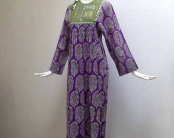 Nitya Blockprint and Embroidered Panel Maxi Dress from 1971, New & Unworn with Original Tag