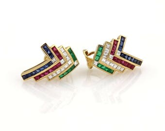 20052 - Estate 3.60ct Diamond Emerald Ruby & Sapphire 18k Gold Post Clip Earrings