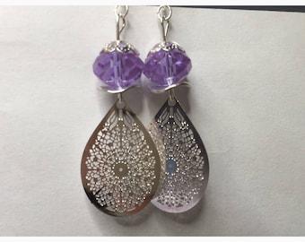 Print and purple crystal earrings Teardrop filigree ref 524
