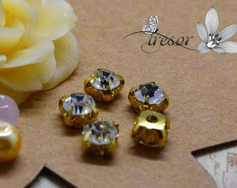 Diamond, stand, gold, silver beads, 6mm