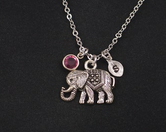 boho elephant necklace, sterling silver filled, initial necklace, birthstone necklace, silver elephant charm on silver chain, good fortune