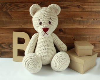 Handmade Crochet Teddy Bear // Amigurumi Bear // Stuffed Animal Teddy Bear // Nursery Decor // New Baby Shower Gift // Plush Baby Toy