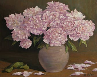 Original oil painting by Michael Sol, Pink peonies in a vase, Peonies oil painting, Peony bouquet, Oil still life pink, Flowers painting