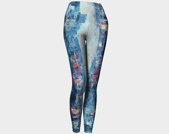 Yoga Pants Women's Clothing Colorful Clothes Activewear Hot Yoga Abstract Art Claire Bull Fun Summer Clothes Exercise Blue Pants Leggings