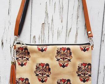 Vintage Stewed Screwed & Tattooed Handbag - Sailor Tattoo Pin Up Bag Brown