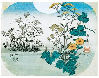Hand-cut wooden jigsaw puzzle. MOON & FLOWERS. HOKUSAI. Japanese woodblock print. Wood, collectible. Bella Puzzles.