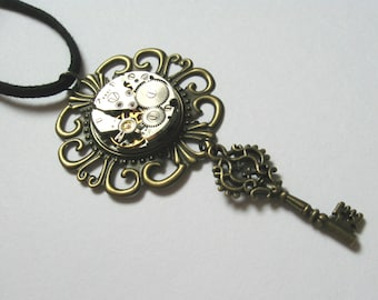 Steampunk jewelry key necklace Beautiful vintage Key Handmade jewelry Metalworks Steam punk skeleton key