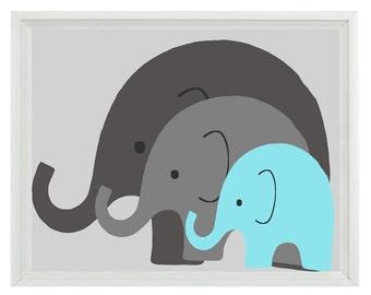 Elephant Nursery Wall Art Print - Mom Baby Dad Family Aqua Gray Decor - Children Kid Baby Room - Wall Art Home Decor  Print