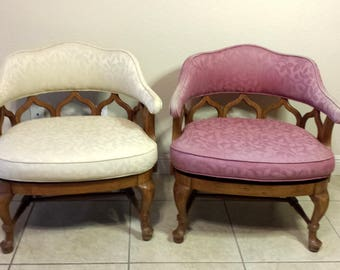 Mid Century Moroccan Style French Barrel Back Chairs