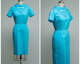 Vintage 1950s Dress • Bobbie Brooks • Turquoise Cotton 50s Sheath Dress Size XSmall