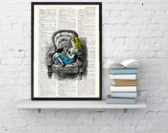 Alice in wonderland Vintage Book Print book Print- Alice in Wonderland Alice takes a nap Print ALW009