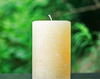 "Rustic Ivory Large 4"" Wide Pillar Candle - Choose 4"", 6"" or 9"" Tall"