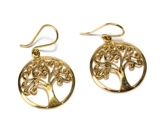 Brass Circle Tree of Life Earrings, Earrings handmade, Yoga Earrings, Nickel Free, Indian Jewellery, Gift boxed,Free UK post BG10