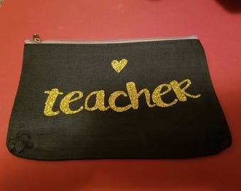 Teacher Zipper Pouch; Cosmetic Bag;Teach
