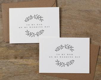 Hochzeitskarte mit meiner Mutter an meinem Hochzeitstag, mit meinem Vater an meinem Hochzeitstag meiner Eltern Karte an meine Mutter Hochzeit, Hochzeit Karte, 2 Karten, K9