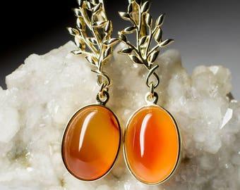 Carnelian Gold Earrings art 8458 | Natural Organic Carnelian Gemstone 14K Gold Earrings Fine Jewelry