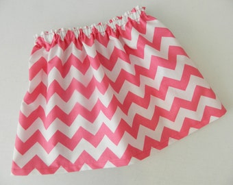 Tween, girl, toddler and baby pink and white chevron fabric SKIRT in sizes NB 3m 6m 12m 18m 24m 2T 3T 4T 5T 6 7 8 10 12 14 16