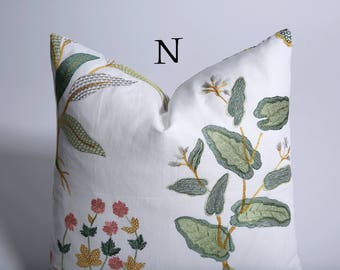 Garden Party Collection // Embroidered Linen Pillow Cover // Decorative Throw Pillow Covers