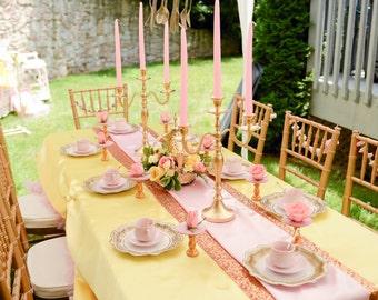 10 Gold Wedding Candle Candelabras 3 arm Shabby Candle Holder Party Candle Holder Birthday Candle Holder
