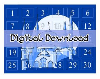 Ramadan Countdown Calendar (Blue) - Digital Download