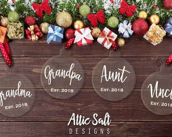 Pregnancy Announcement, Personalized Christmas Ornament, Grandma, Grandpa, Aunt, Uncle