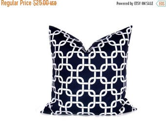 15% Off Sale NAVY PILLOW Decorative Navy Pillow Cover 26x26 pillow cover. Euro Pillow Shams.Euro Pillow.printed fabric on front and back