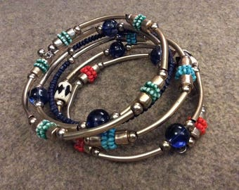 Memory Wire Bracelet With Multi-toned Beads